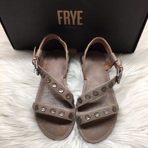 Frye Grey Leather Studded Sandals 5.5M